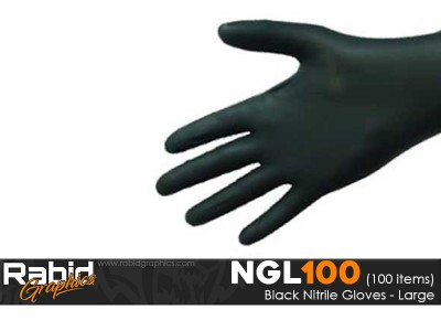 Black Nitrile Gloves - Large (Pack of 100)