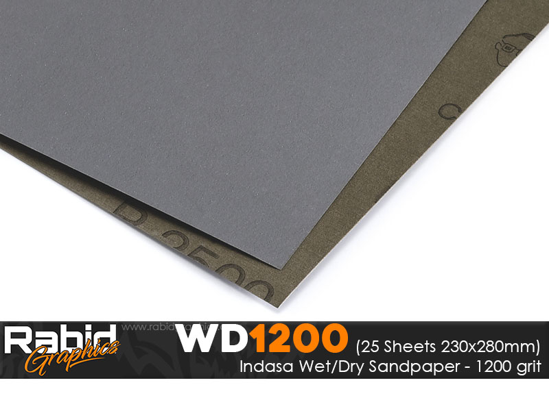 P1200 Indasa Rhynowet Wet/Dry Paper - Pack of 25 sheets - 230mm x 280mm