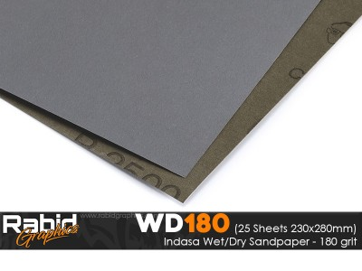 P180 Indasa Rhynowet Wet/Dry Paper - Pack of 25 sheets - 230mm x 280mm