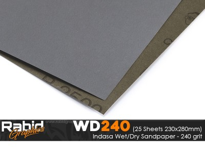 P240 Indasa Rhynowet Wet/Dry Paper - Pack of 25 sheets - 230mm x 280mm