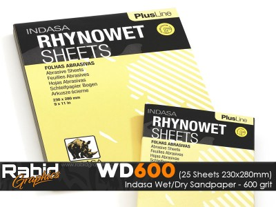 P600 Indasa Rhynowet Wet/Dry Paper - Pack of 25 sheets - 230mm x 280mm