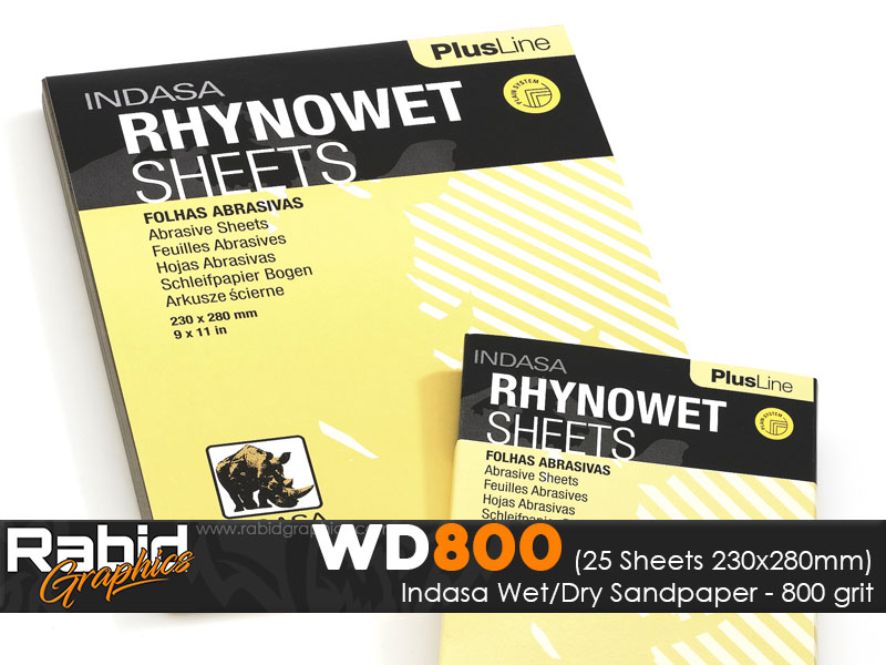P800 Indasa Rhynowet Wet/Dry Paper - Pack of 25 sheets - 230mm x 280mm