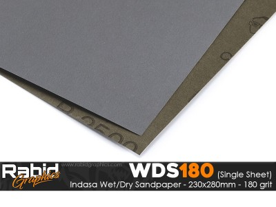 P180 Indasa Rhynowet Wet/Dry Paper - Single Sheet - 230mm x 280mm