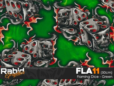 Flaming Dice - Green (50cm)