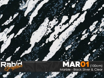 Marble - Black, Clear & Silver (100cm)