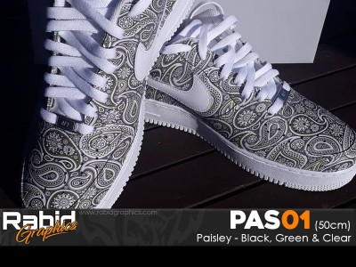 Paisley - Black, Green & Clear (50cm)