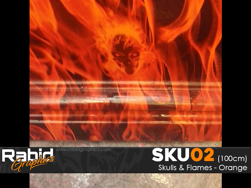 Skulls & Flames - Orange (100cm)