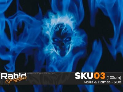 Skulls & Flames - Blue (100cm)