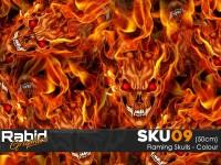 Flaming Skulls - Colour (50cm)