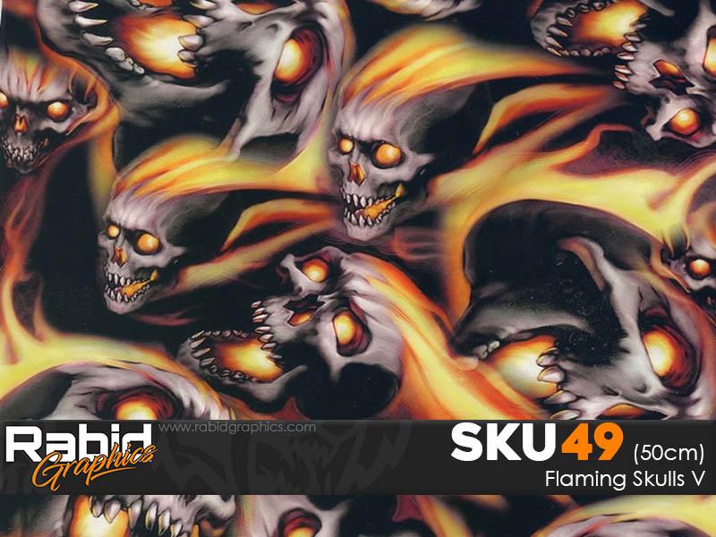 Flaming Skulls V (50cm)